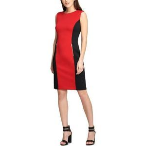 DKNY Womens Colorblock Sleeveless Sheath Dress